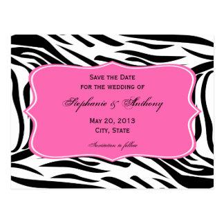 Cartão Postal Impressão preto, branco da zebra, economias do