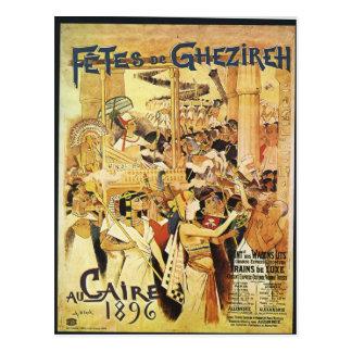 Cartão Postal Impressão railway temático egípcio do vintage
