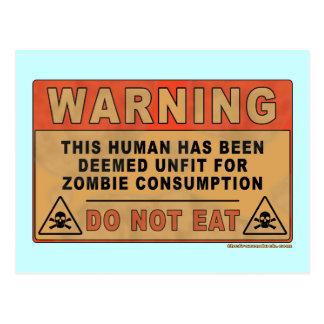 Cartão Postal Inadequado de advertência para o consumo do zombi