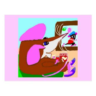 Cartão Postal Independente que o rato relaxa com microplaquetas