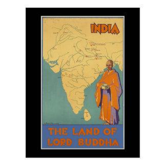 Cartão Postal India a terra do senhor Buddha