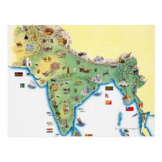 Cartão Postal India, mapa com mostrar das ilustrações