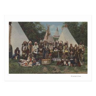Cartão Postal Indianos noroestes em um prisioneiro de guerra wow