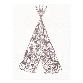 Cartão Postal INDIANOS - TEPEE - feitos de americanos nativos