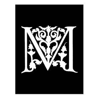 """Cartão Postal Iniciais brancas de """"M"""" do preto do monograma da"""