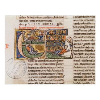 """Cartão Postal Inicial """"E"""" de Historiated que descreve Jonah"""