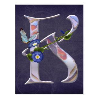 Cartão Postal Inicial preciosa K da borboleta