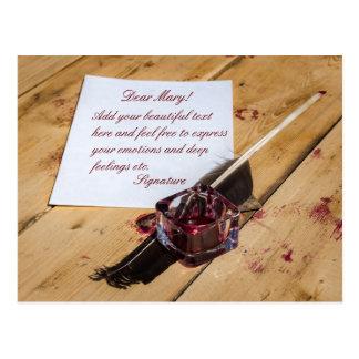 Cartão Postal Inkstand, quill e papel customizáveis