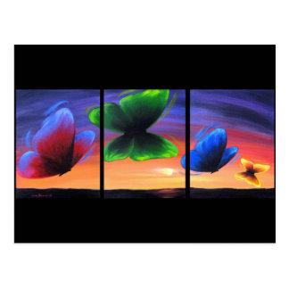 Cartão Postal Insetos coloridos da borboleta que pintam - multi