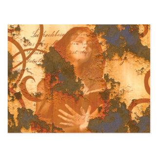 Cartão Postal Inspirado velho do grunge da oxidação do livro da