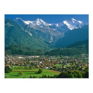 Cartão Postal Interlaken e a escala de Jungfrau