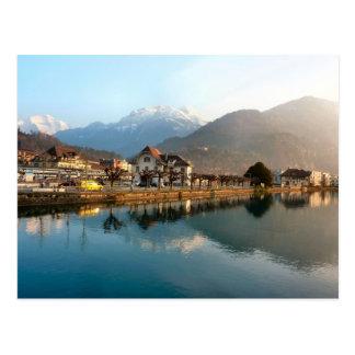 Cartão Postal Interlaken Staion ocidental e rio