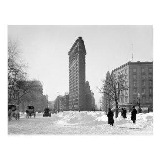 Cartão Postal Inverno Cena da construção de Flatiron, 1905