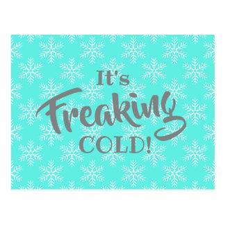 Cartão Postal Inverno engraçado que Freaking o feriado frio