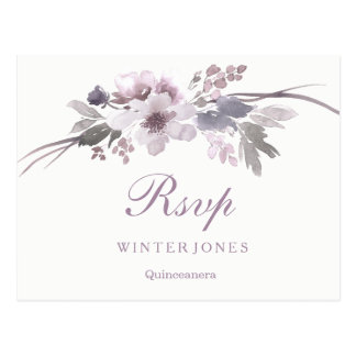 Cartão Postal Inverno roxo floral elegante Quinceanera RSVP