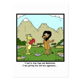 Cartão Postal Ioga e meditação: Desenhos animados do leão
