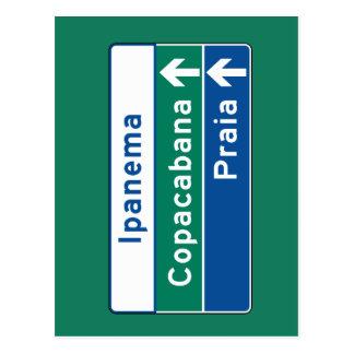 Cartão Postal Ipanema/Copacabana/Beach, sinal de tráfego de