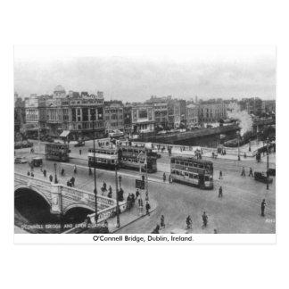Cartão Postal Ireland velho, ponte de O'Connell dos anos 30,