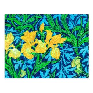 Cartão Postal Íris, amarelo e azuis cobaltos de William Morris