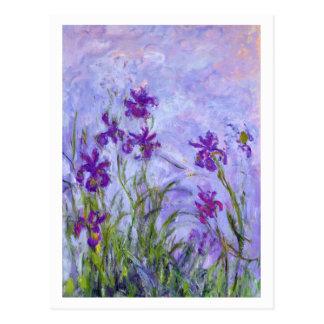 Cartão Postal Íris roxas por Claude Monet