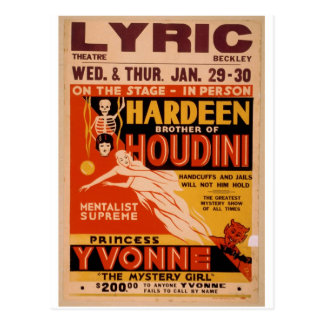 Cartão Postal Irmão de Hardeen de Houdini, 'o mistério Girl