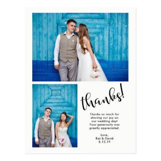 Cartão Postal | irrisório moderno obrigado do casamento de duas