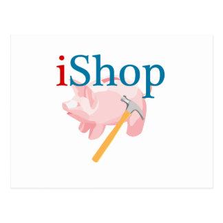Cartão Postal iShop engraçado com Piggybank e martelo