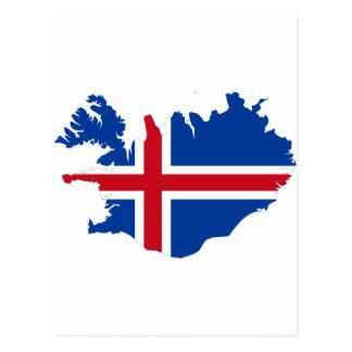 Cartão Postal Islândia É mapa da bandeira de Ísland