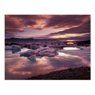 Cartão Postal Islândia, lagoa de Jokulsarlon, paisagem