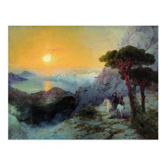 Cartão Postal Ivan Aivazovsky- Pushkin na parte superior,