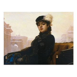 Cartão Postal Ivan Kramskoi - retrato de uma mulher desconhecida