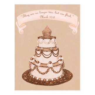 Cartão Postal Já não escritura do bolo de Two-One Flesh~Wedding