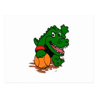Cartão Postal Jacaré que joga o basquetebol