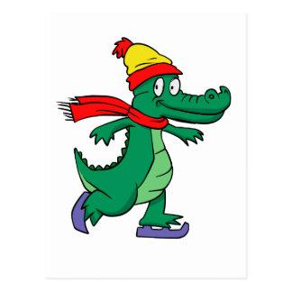 Cartão Postal Jacaré que patina com chapéu e lenço