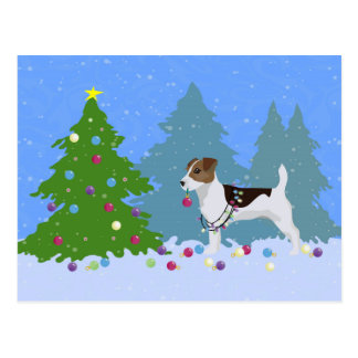 Cartão Postal Jack Russell Terrier que decora a árvore de Natal