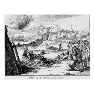 Cartão Postal James II que aterram em Kinsale, o 12 de março de