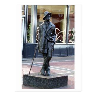 Cartão Postal James Joyce, escultura irlandesa do autor, cidade