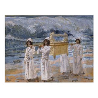 Cartão Postal James Tissot - as passagens da arca sobre o Jordão