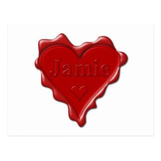 Cartão Postal Jamie. Selo vermelho da cera do coração com Jamie