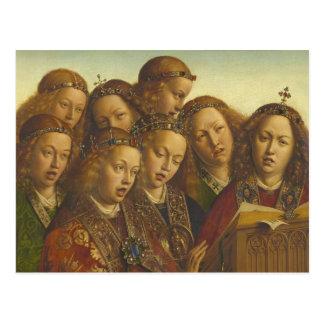 Cartão Postal Jan van Eyck que canta a anjos Ghent CC0974