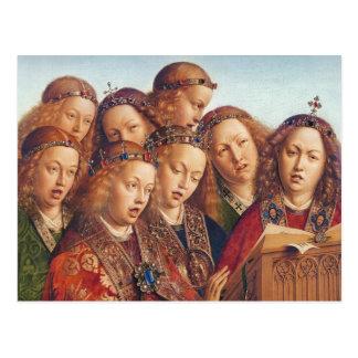 Cartão Postal Jan van Eyck que canta a anjos o altarpiece de