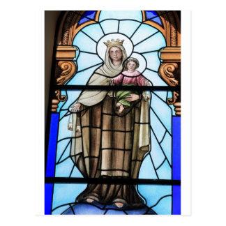 Cartão Postal Janela de vitral do Jesus Cristo do bebê da Virgem