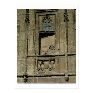 Cartão Postal Janela do manequim na fachada da entrada com uma