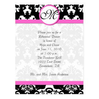 Cartão Postal Jantar de ensaio cor-de-rosa do damasco do preto
