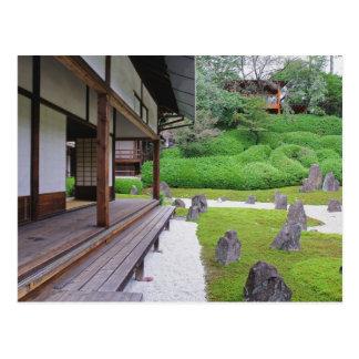 Cartão Postal Japão, Kyoto. Jardim de pedra no silêncio