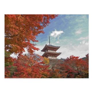 Cartão Postal Japão, Kyoto, pagode na cor do outono