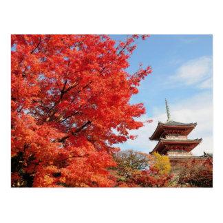 Cartão Postal Japão, Kyoto. Templo de Kiyomizu na cor do outono