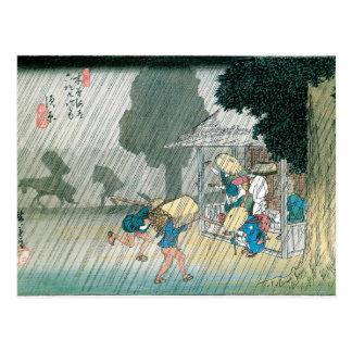 Cartão Postal Japão velho na chuva, cerca de 1834-42