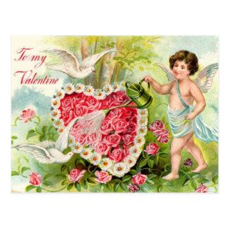 Cartão Postal Jardim com Cupido