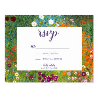 Cartão Postal Jardim por Gustavo Klimt RSVP floral